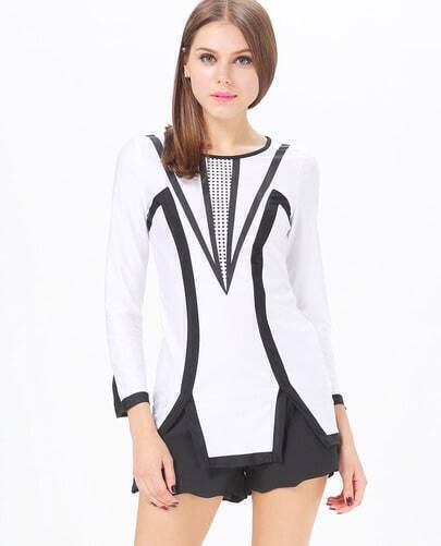 White Long Sleeve Black Hollow Party Dress