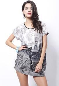 Grey Short Sleeve Paris Vintage Print Tribal Dress