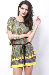 Yellow Short Sleeve Feather Print Tribal Dress