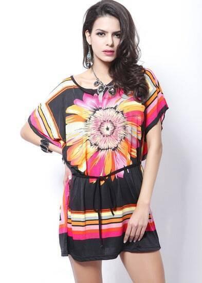 Black Batwing Sleeve Sunflower Print Tribal Dress