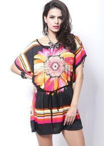 Black Batwing Sleeve Sunflower Print Tribal Dress
