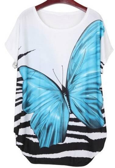 Blue Short Sleeve Butterfly Print Tribal Dress