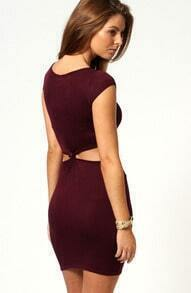 Wine Red Short Sleeve Cut Out Bodycon Dress