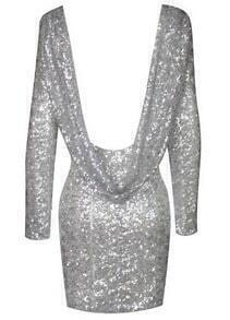 Silver Long Sleeve Sequined Backless Bodycon Party Dress