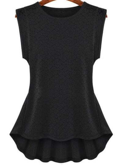 Black Floral Lace Ruffle Blouse