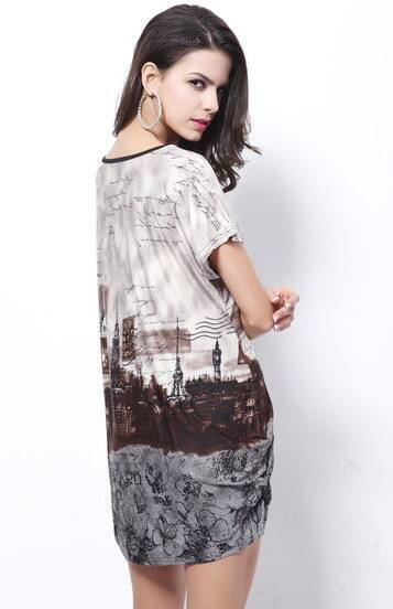 Coffee Short Sleeve Paris Vintage Print Tribal Dress