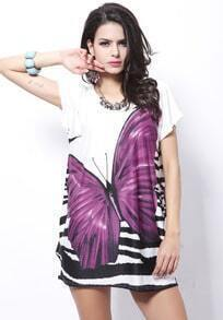 Purple Short Sleeve Butterfly Print Tribal Dress