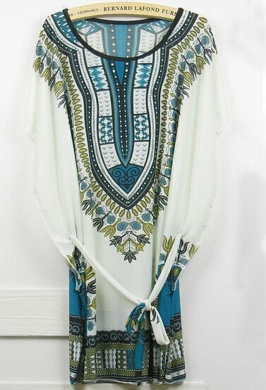 Blue Short Sleeve Vintage Print Tribal Dress