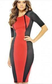 Red Black Half Sleeve Pencil Dress