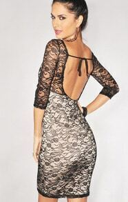 Black Half Sleeve Lace Backless Party Dress