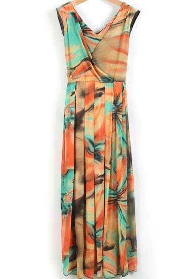 Yellow V Neck Sleeveless Floral Pleated Dress