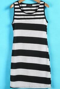 Black White Striped Sleeveless Tank Dress