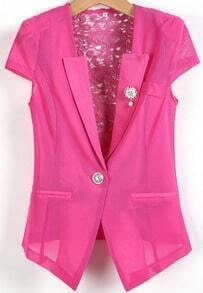 Rose Red Short Sleeve Bead Hollow Blazer