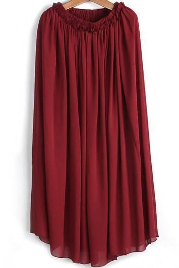 Wine Red Elastic Waist Pleated Chiffon Skirt