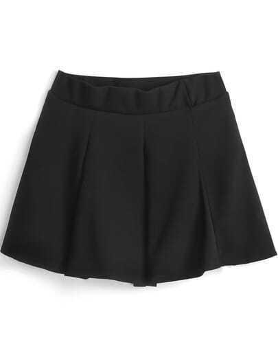 Black Simple Design Pleated Skirt