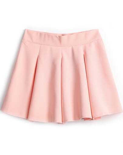 Pink Simple Design Pleated Skirt
