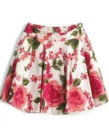 Apricot Elastic Waist Vintage Floral Skirt