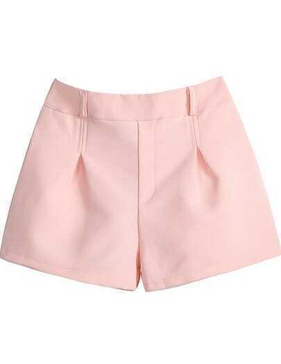 Pink Elastic Waist Straight Shorts