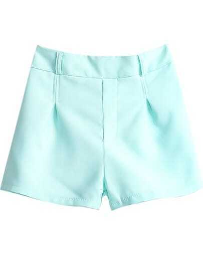 Green Elastic Waist Straight Shorts