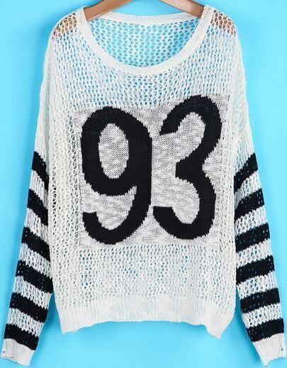 White Striped Long Sleeve 93 Print Hollow Sweater