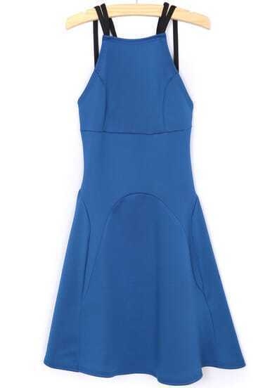 Blue Criss Cross Backless Ruffle Dress