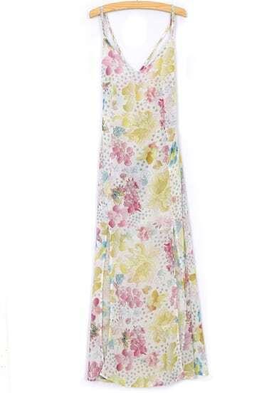White Spaghetti Strap Floral Split Dress