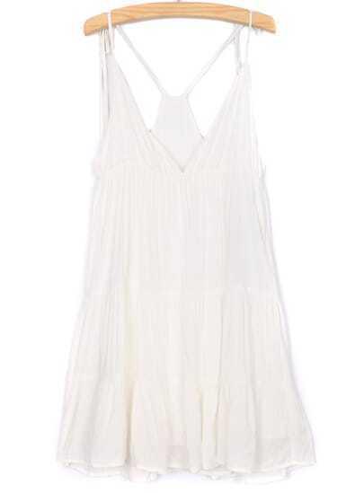 White Spaghetti Strap Deep V Neck Pleated Dress