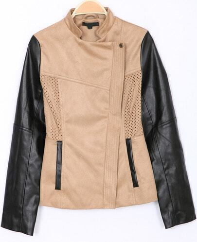 Khaki Stand Collar Long Sleeve Crop Jacket