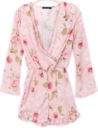 White V Neck Long Sleeve Floral Chiffon Jumpsuit
