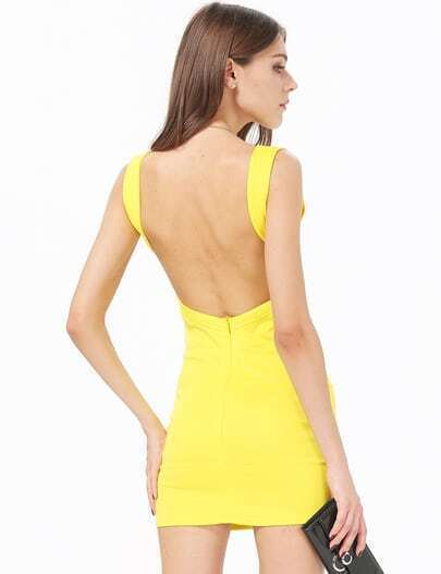 Yellow Sleeveless V Neck Backless Bandage Dress