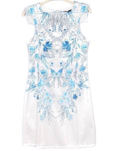 White Sleeveless Blue Floral Chiffon Dress