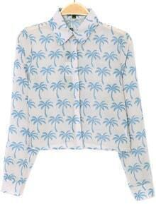 Blue Lapel Long Sleeve Coconut Print Crop Blouse