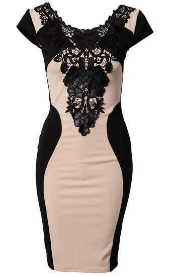 Apricot PU Leather Contrast Lace Embroidery Bodycon Dress