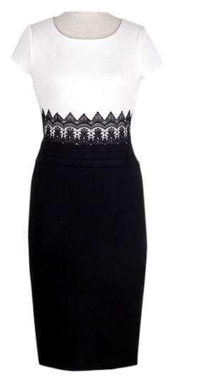 White Black Short Sleeve Lace Bodycon Dress