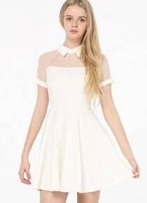 White Short Sleeve Mesh Peak Collar Skater Dress