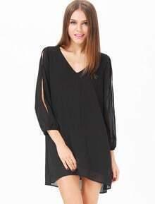 Black Split Sleeve V Neck Loose Dress