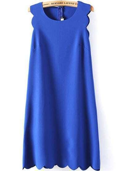 Blue Sleeveless Zigzag A Line Dress