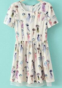 White Short Sleeve Jellyfish Print Pleated Dress
