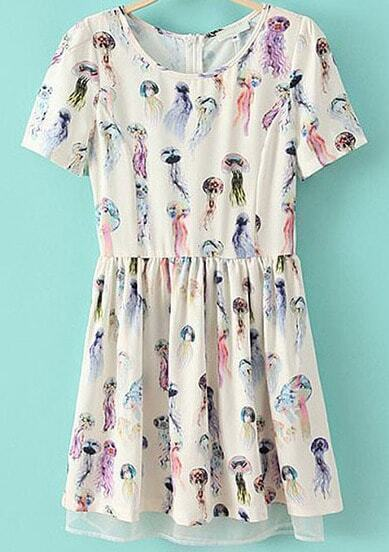 White Short Sleeve Jellyfish Print Pleated Dress