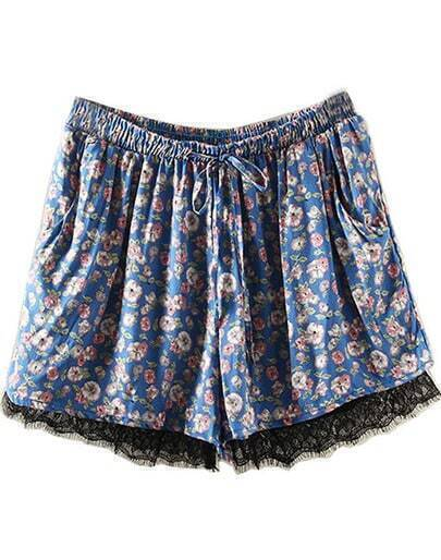 Blue Drawstring Waist Floral Lace Shorts