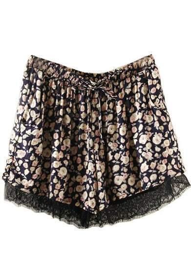 Navy Drawstring Waist Floral Lace Shorts