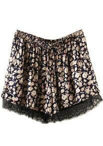 Navy Drawstring Waist Floral Lace Shorts