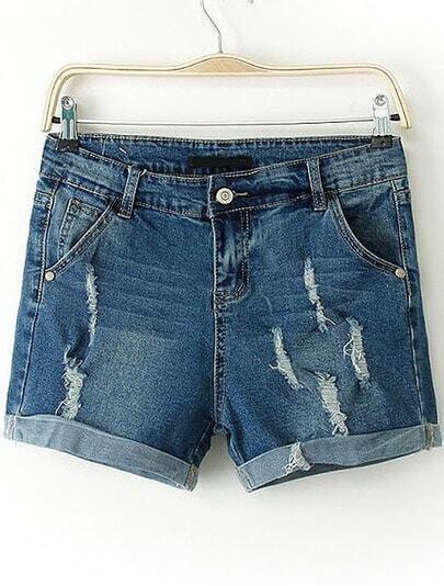 Blue Flange Ripped Denim Straight Shorts