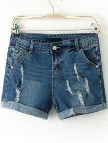 Blue Flange Ripped Denim Straight Shorts