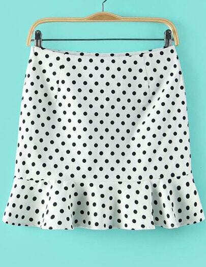White Polka Dot Ruffle Skirt