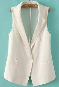 White Notch Lapel Sleeveless Pockets Blazer