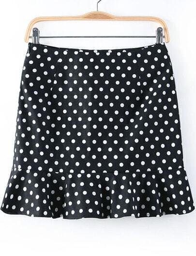 Black Polka Dot Ruffle Skirt