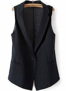 Navy Notch Lapel Sleeveless Pockets Blazer
