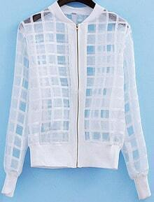 White Long Sleeve Sheer Plaid Jacket