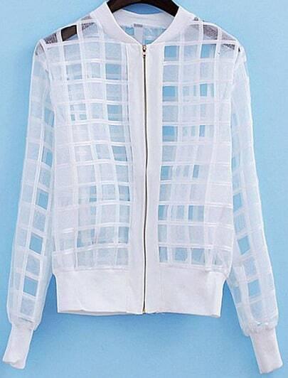 White Long Sleeve Sheer Plaid Jacket